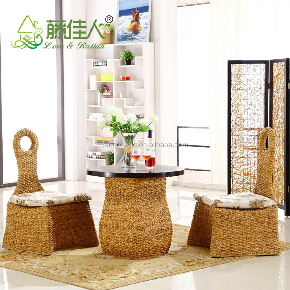 Modern cafe chairs and tables - 2016 New Modern Design Rattan Water Hyacinth Wooden Coffee Shop Tables And Chairs Set