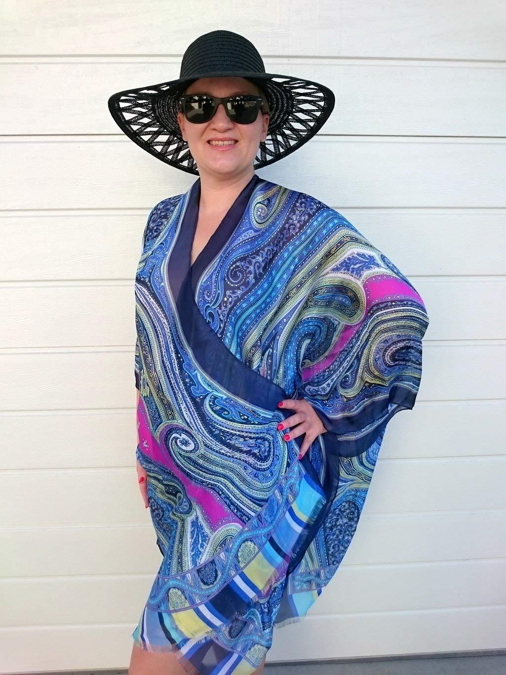 ab314bf6a8e Get Quotations · Blue Kimono Robe