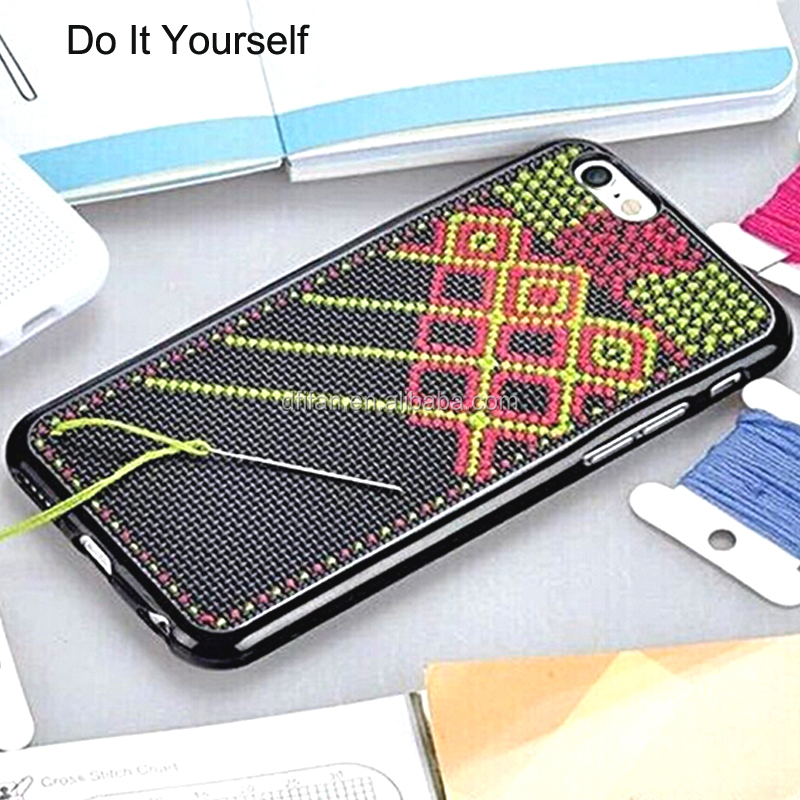 DFIFAN Wholesale phone accessory for iphone 6 DIY cross stitch back cover case for iphone 6s