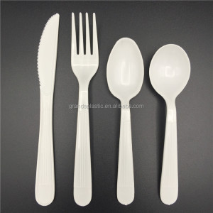 GC05 6g food safe white PP custom flatware utensils disposable plastic cutlery set with fork, knife, soup spoon and tea spoon
