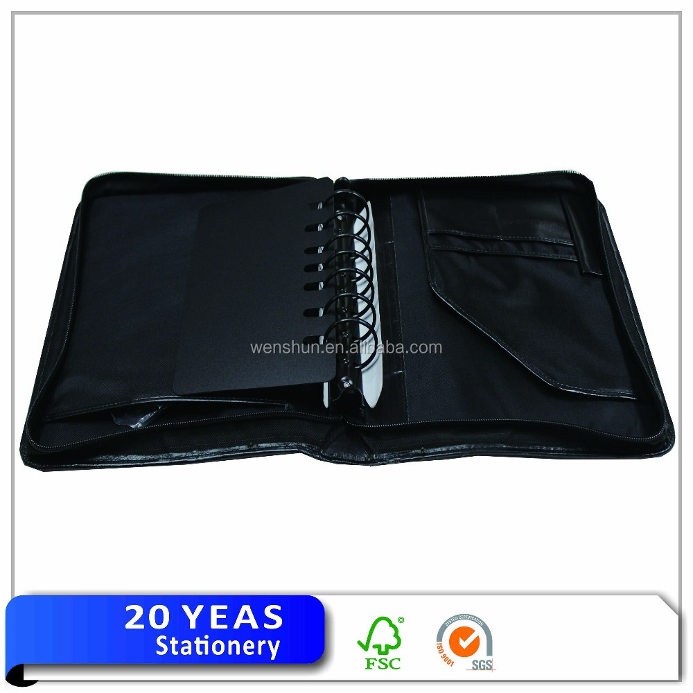 High Quality Cheap Price Notepad Zip Leather Portfolio Bag