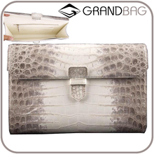 elegant crocodile skin and calf leather women clutch bag flap clutch purse handbag