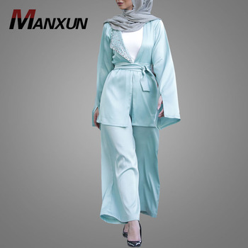 Model kebaya muslim modern picture two piece pantsuit detailed with silver stones baju kurung malaysia