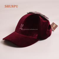 New Design Winter Red Cotton Velvet Baseball Cap For Women