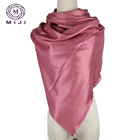 Kashmir wool shawl small plain silk fur scarf women