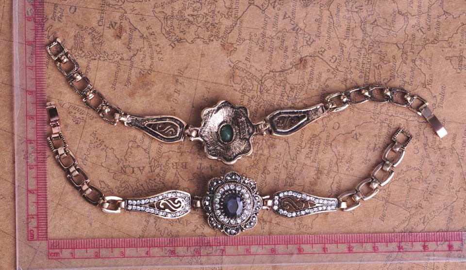Commercio all'ingrosso Vintage Turco Monili Rotondi Della Resina Catena Del Braccialetto Del Braccialetto Bronzo Antico Accessori Donna