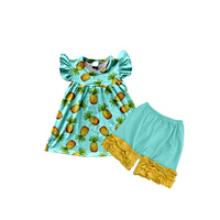 new designs baby girl clothes pineapple printing icing ruffle top and pants outfit for kids children's clothing websites