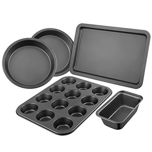 Nonstick carbon steel microwave oven cake pan set