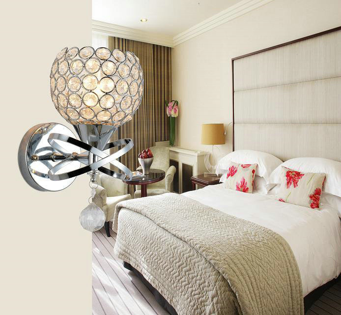 Modern LED crystal wall lamp bedroom wall light Fashion home lighting E14 base Free shipping and give a LED Bulb as a present