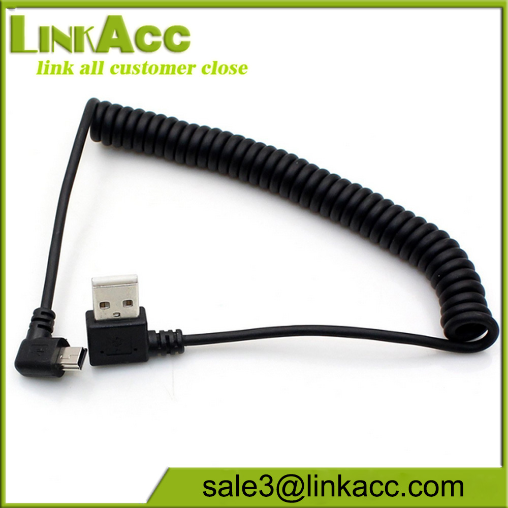 Coiled Mini USB Cable Charging and Date SYNC transferring, Spring, Coiled Mini USB Cable Cord For The Device With Mini USB Port