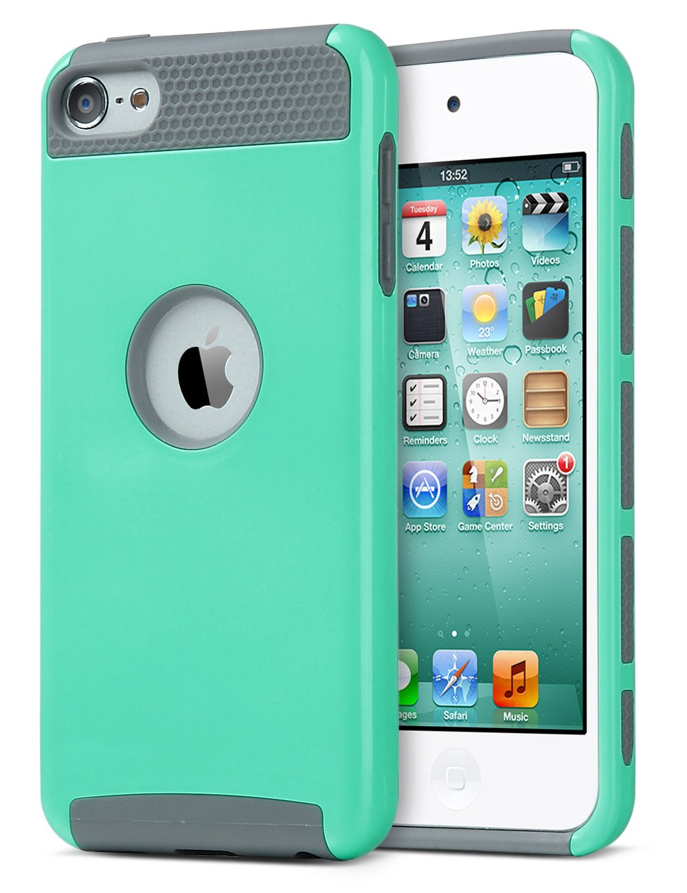 iPod Touch 5/6th Generation Case,ULAK Dual Layer Slim Protective Hybrid iPod Touch Case Hard PC Cover for Apple iPod touch 5 6th Generation (Aqua Mint/Grey)