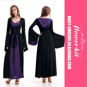 ab37214c9a Halloween Renaissance Medieval Dress Costumes For Women One Piece Cosplay  Black Purple Gown With Hood
