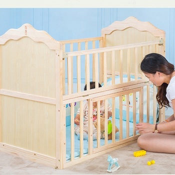 Convertible natural color solid pine wood cot bed 3 in 1 baby crib for new born baby sleeping