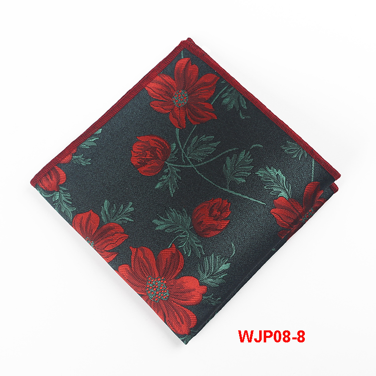 100% Microfiber Polyester Woven Pocket Squares Mens Floral Handkerchief
