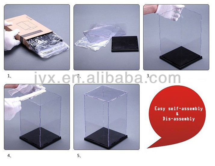 Easy self-assembly Clear Acrylic Display Case Box Scale Figures