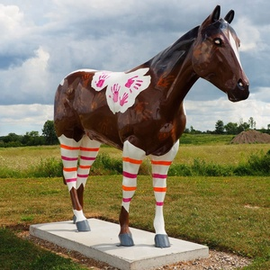 full size colorful fiberglass standing horse sculpture painted animal statue