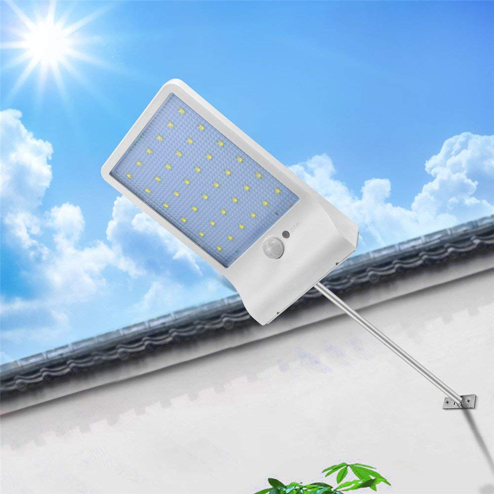 AIMENGTE Solar LED Street Light Motion Sensor, 450lm 36 LEDs Landscape Lights, IP65 Waterproof Security Lights Wall Lamp For Street, Patio, Garden, Garage, Pathway, Walkway, Door. (With Rod, White)