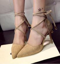 Nice design western shoes bandage footwear women fashion pionted toe casual shoes