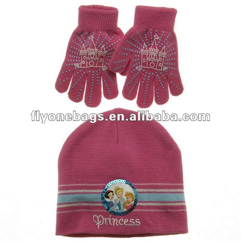 Princess winter knitted hat & gloves 2 sets