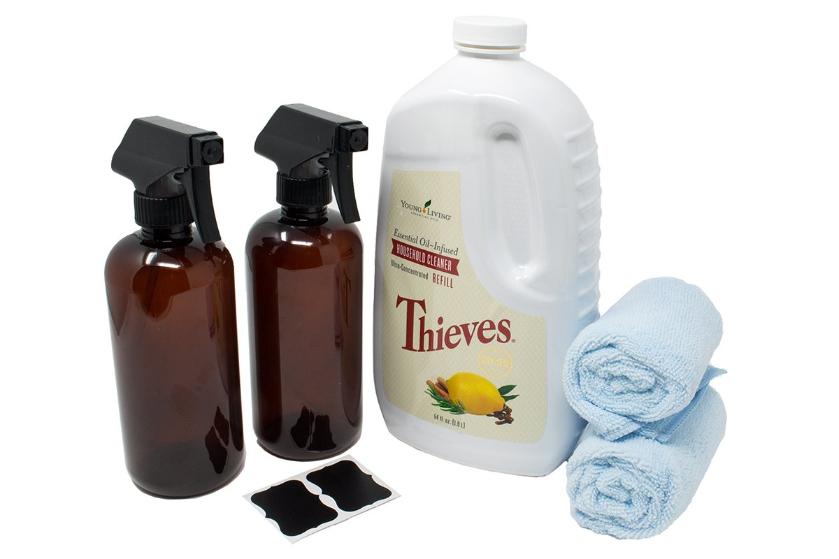 Thieves Cleaner Kit – includes Young Living Thieves Cleaner 64 fl.oz, (2) Plastic Amber Spray Bottles 16oz (PET #1 – BPA Free) w/reusable (2) Chalk Labels, and (2) Microfiber cloths