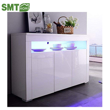 Mecor Kitchen Buffet Cabinet High Gloss Led Sideboard Storage Server Table With 3 Doors And Open Topper Shelf White View Smt Product