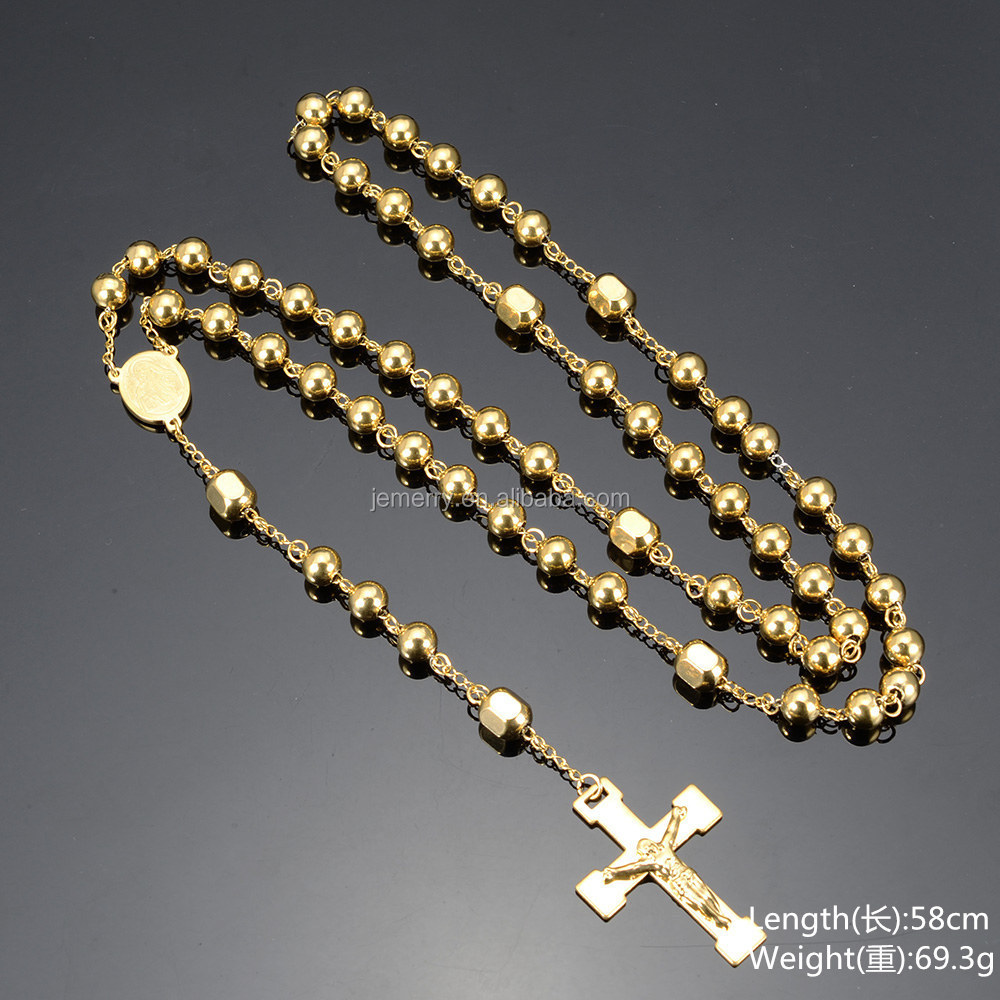Glittering Cross Pendant With Jesus Necklace PVD Plating Gold Long Chain Necklace Designs