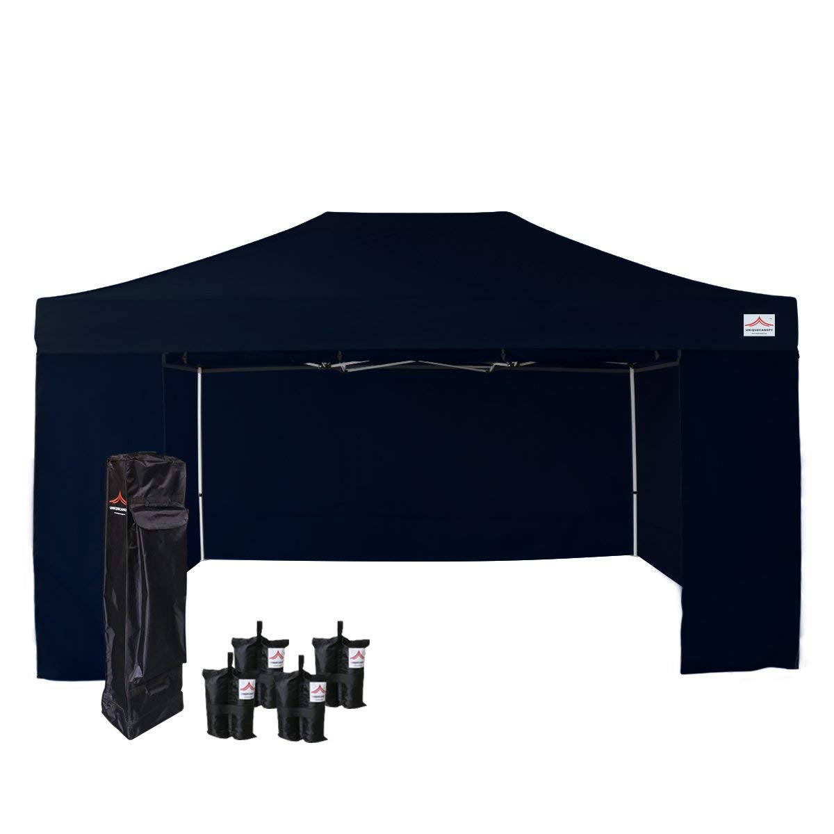 UNIQUECANOPY 500D Enhanced 10x15 Ez Pop up Canopy Portable Folded Commercial Canopy Car Shelter Wedding Party Show Tent with 4 Zippered Side Walls and Wheeled Carrying Bag Navy Blue