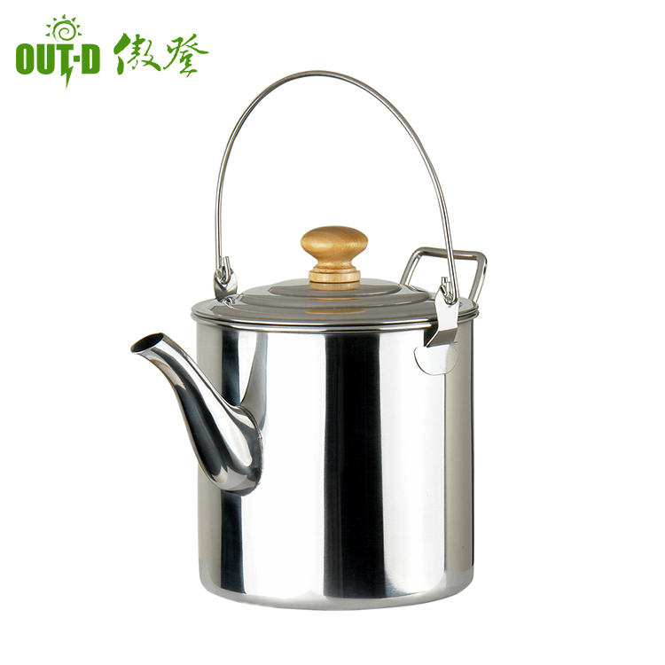 Portable stainless steel wide water kettle / large capacity camping kettle manufacturer