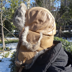 Winter Custom aviation Russian Military Aviator Leather Earflap Rabbit Fur Trim Ushanka Hats Men