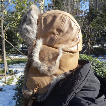 62219a2ce Winter Custom Aviation Russian Military Aviator Leather Earflap Rabbit Fur  Trim Ushanka Hats Men - Buy Russian Style Fur Hat,Rabbit Fur Trapper ...