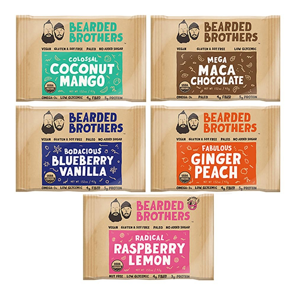 Bearded Brothers Whole Food Energy Bars: 5 flavors, Paleo, Gluten Free, Soy Free, Vegan, Non-GMO, USDA Organic, Low Glycemic, Great Source of Protein and Fiber (12-Pack)