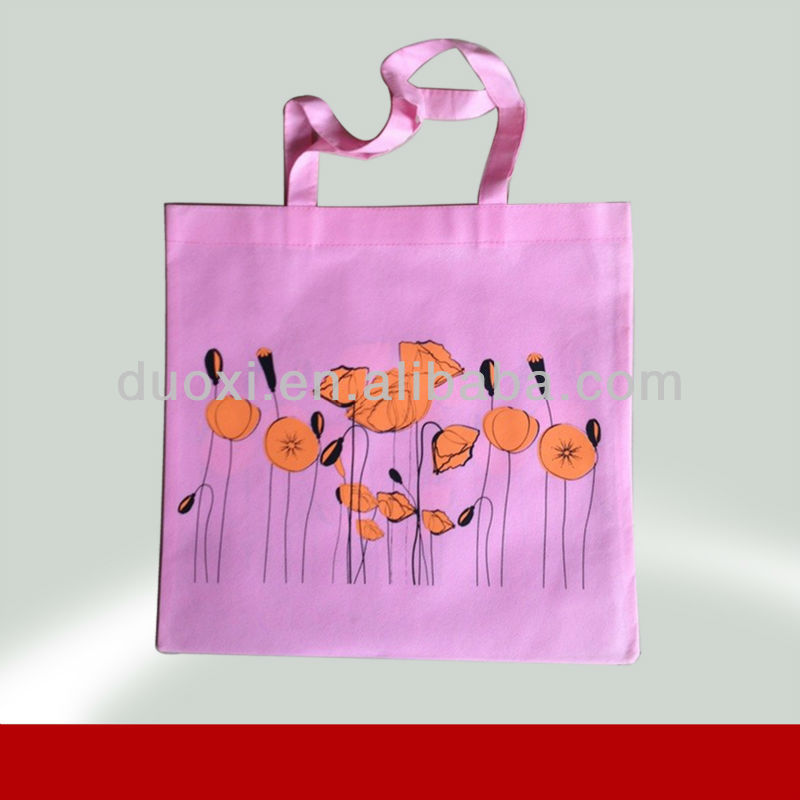 Promotion hot stamping shopping bags Pink beautiful tote bag 100% manufacturer