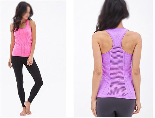 bcdb9f13f9c Women's Sports Tops Fitness Breathable Anti-Sweat Gym Sportswear Tank Tops  Quick Dry Hollow Running SleevelessTee For Girls