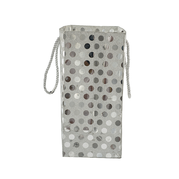 Silver sequins reusable printing luxury gift shopping boutique paper bag