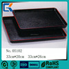 Large black non slip plastic food serving tray for hotel supplies