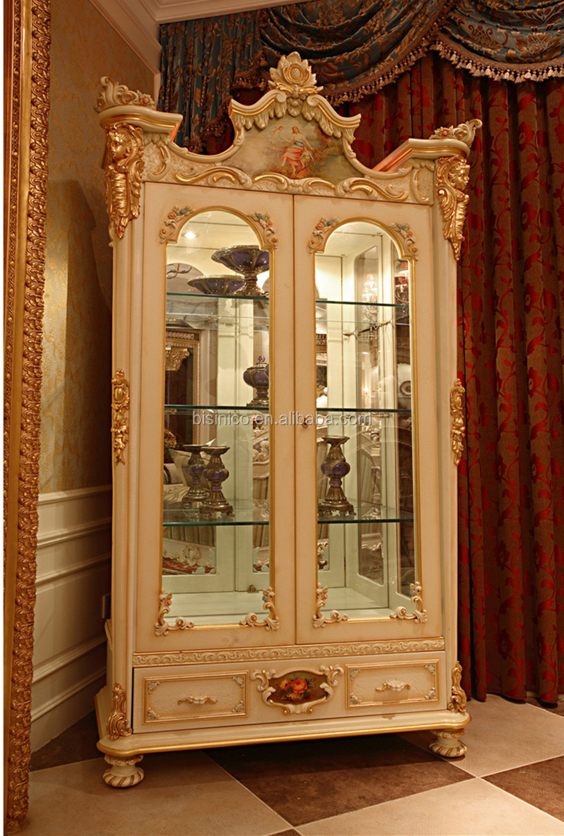 Luxury French Rococo Style White Four Door Glass Display Cabinet Gorgeous Home Decorative Cupboard Showcase