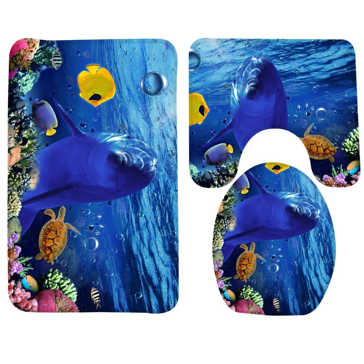 1 Set (3 Pcs/Set) Cartoon Dolphin Underwater Soft Foam Shower Bathroom Mat Toddler Nonslip Textured Round Rubber Suction Stick Cups Absorbent Superb Popular Vintage Hotel Washable Bathmats Toilet