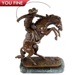 Top Selling Bronze Man With Horse Statue