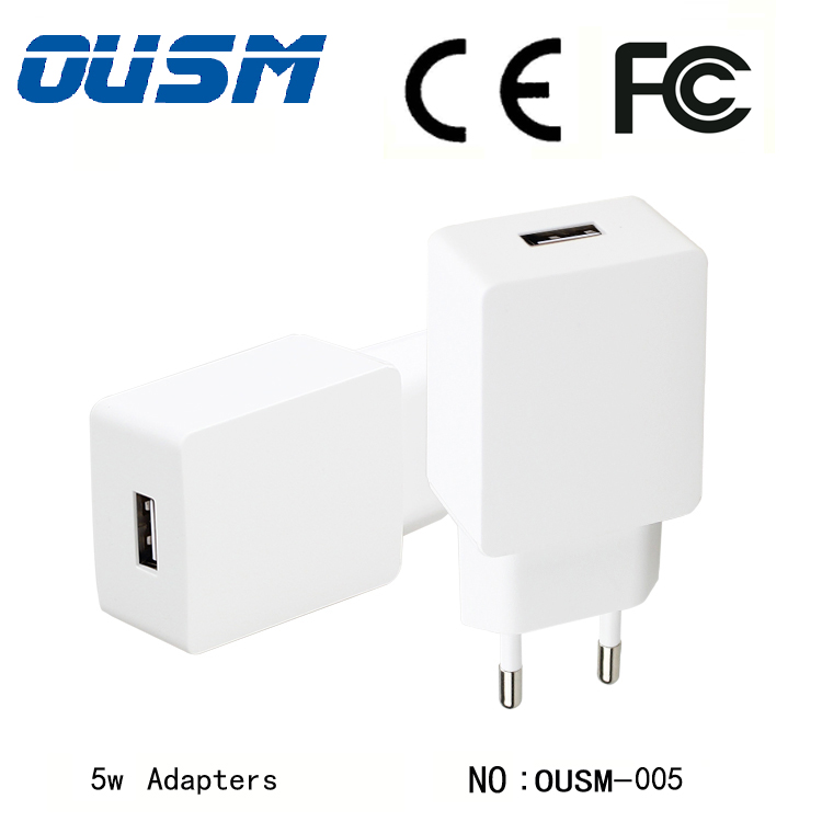 High Quality Standard EU Wall Charger 5w Ac power adapter Phone Charger CE Certified