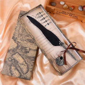 AYFP-0009 New promotional colorful goose feather quill pen with map box