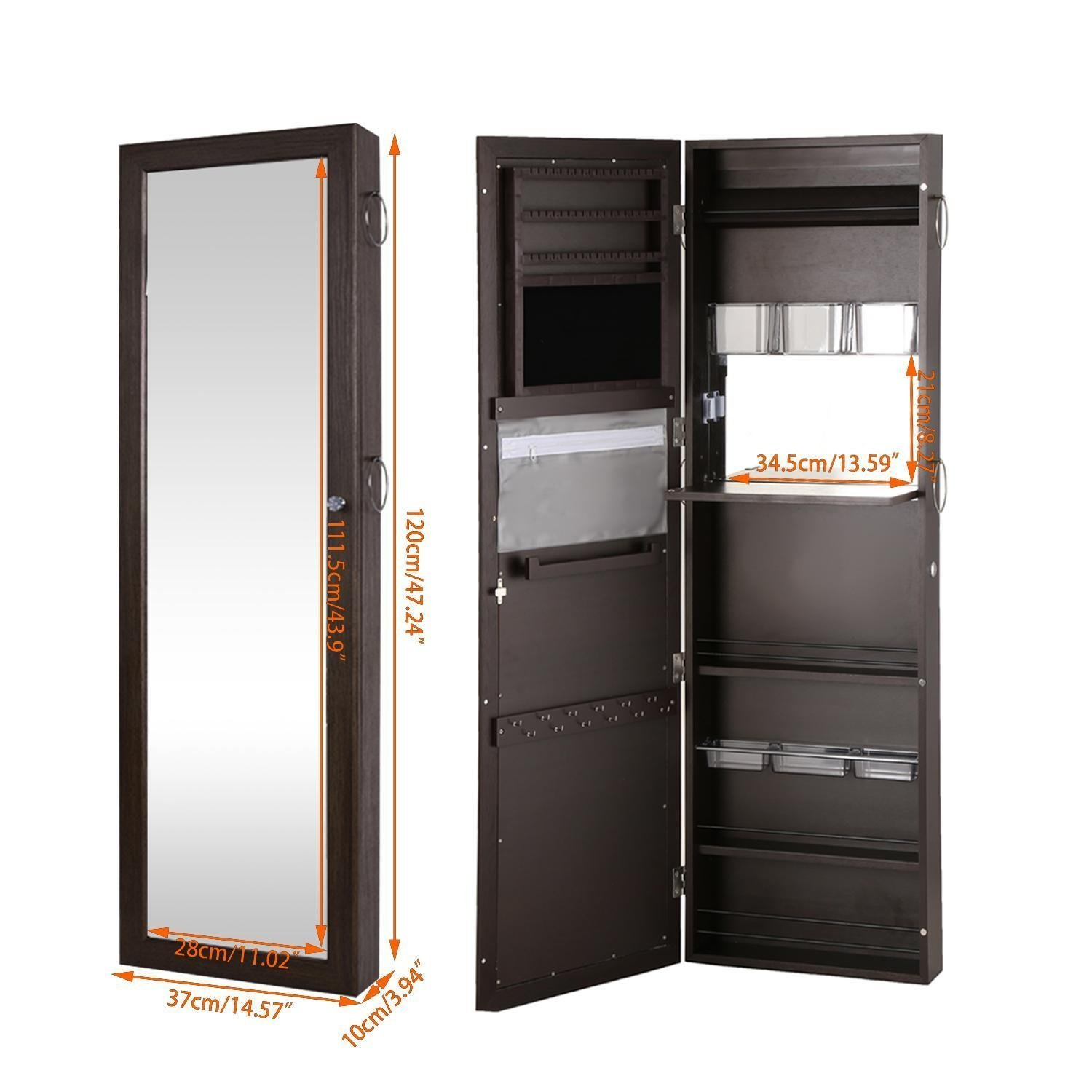 Get Quotations · Fashine Lockable Wall Mount Jewelry Cabinet Door Mounted  Jewelry And Makeup Armoire Box Modern Jewelry Holder