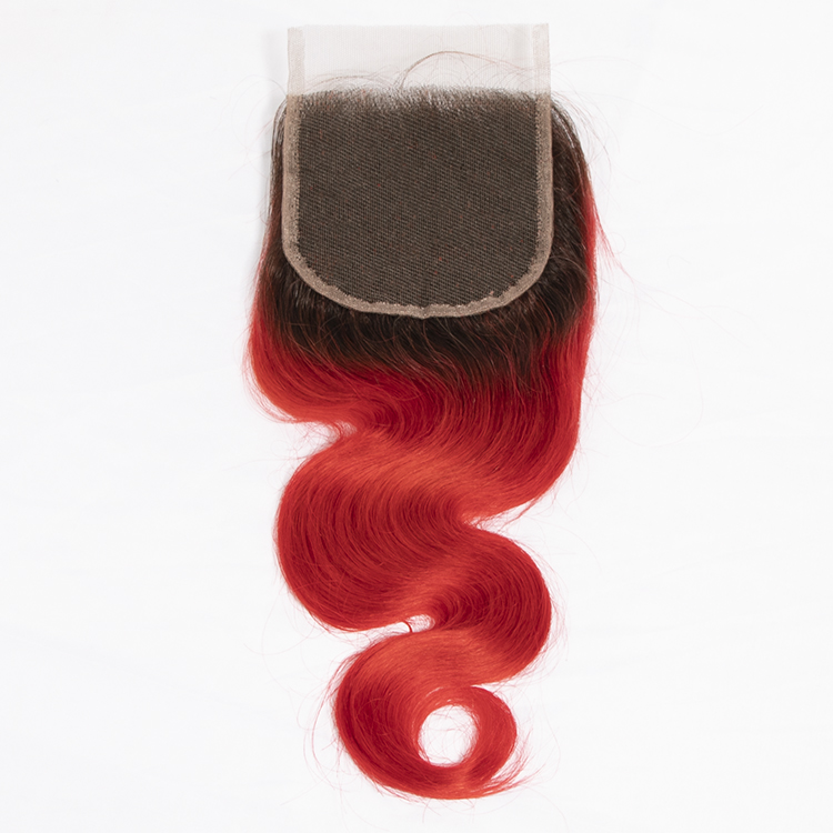 Luxefame Hair Ombre 1B-RED 4*4 Swiss Lace Closure Brazilian Body Wave 130% Density Remy Human Hair 8''-20