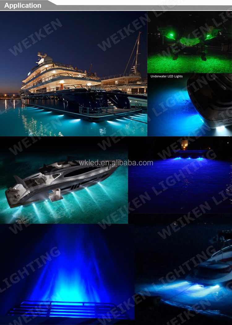 wholesale 60w submersible 316l stainless steel underwater 12 volt led lights blue light
