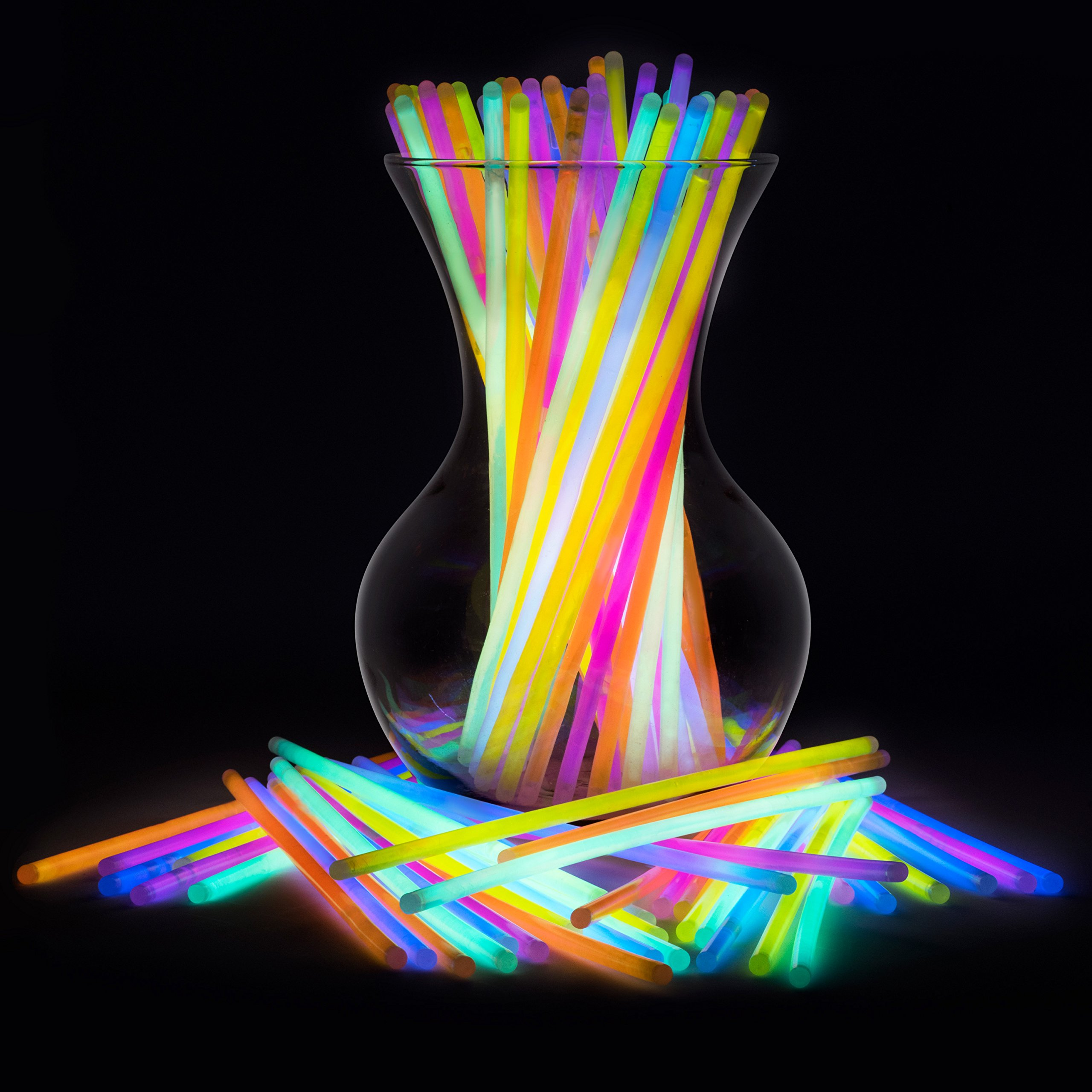 """Glow Sticks Party Favors for Kids - Glow Sticks Bulk Neon Party Supplies - 100 8"""" Bulk Glow Sticks Party Pack with Connectors to Make Glow Sticks Necklaces and Party Glow Sticks Fun"""