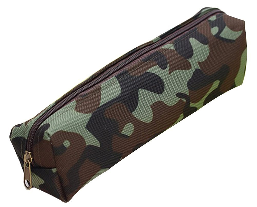 Hestio Creative Fashion Camouflage Pencil Bag Large Capacity Pencil Bag Student Pencil Bag (green)