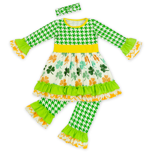 e41dc2b90 print girls boutique clothing St.Patrick's Day clothes children winter long  sleeve pining ruffle baby