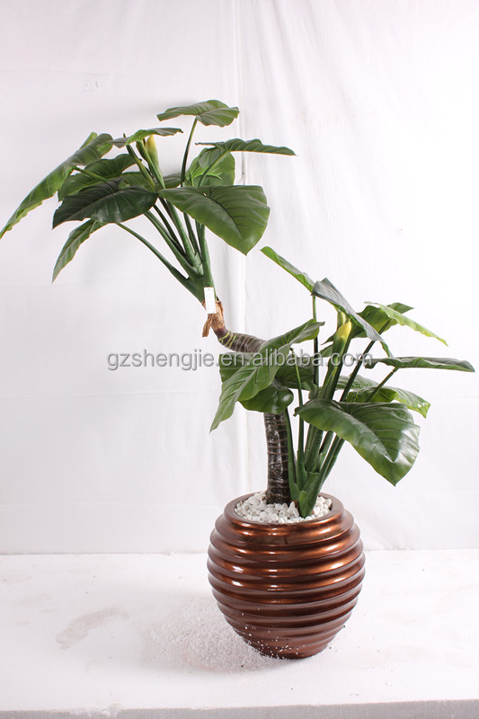 Small artificial plant flowers with pot plastic for Artificial plants indoor decoration
