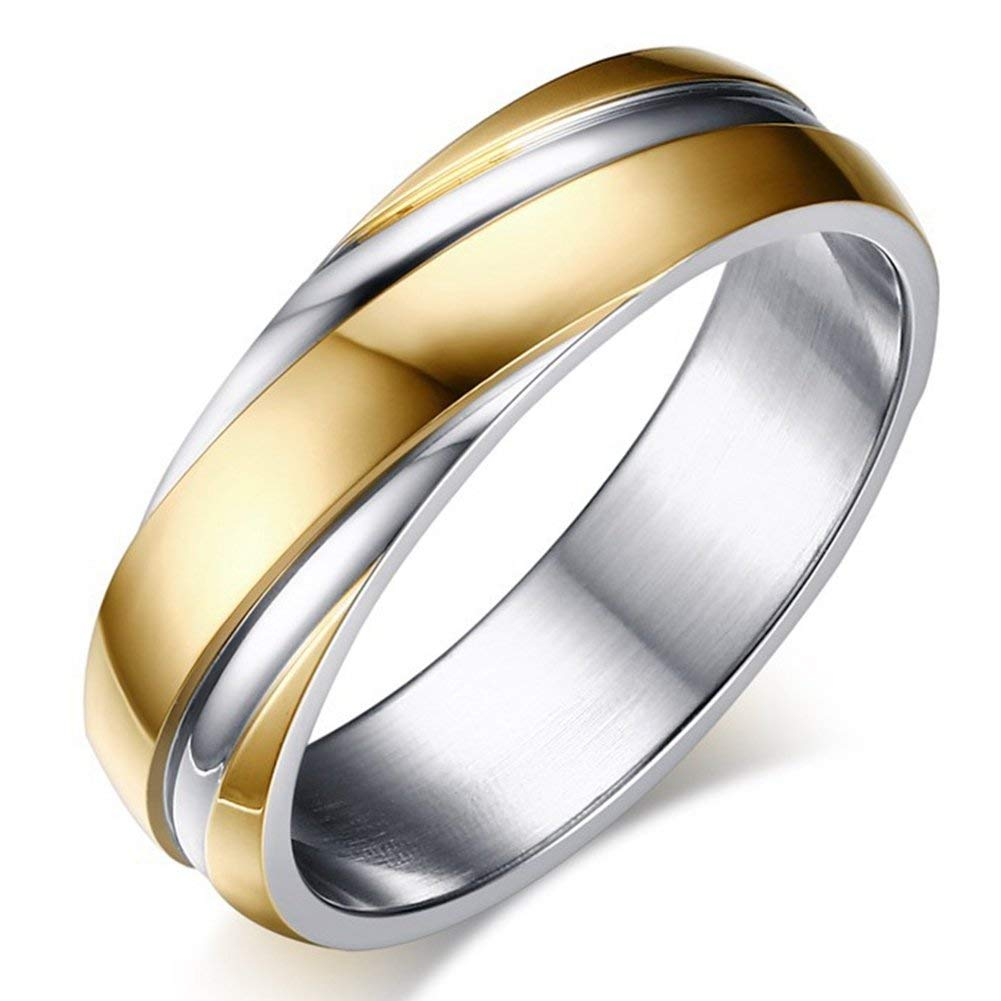 Mens Wedding Bands Classic 6MM Titanium Steel Womens Enternity Promise Rings High Polish Comfort Fit Size 5-13
