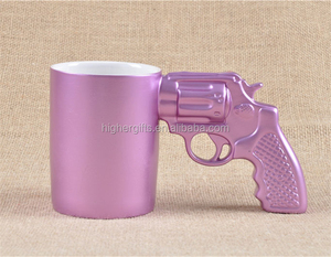 Promotional Gift Gun Shape Office Coffee Mugs for Boyfriend with Gun Handle