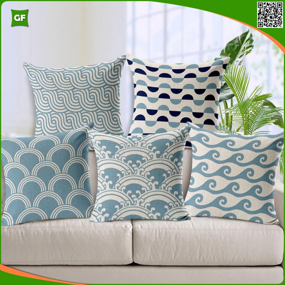 simple creativo geomtrico ondulado de alta calidad de polister impresa fundas de colchn funda de almohada